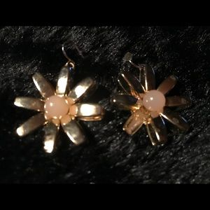 Earrings, gold with small round lite pink or peach